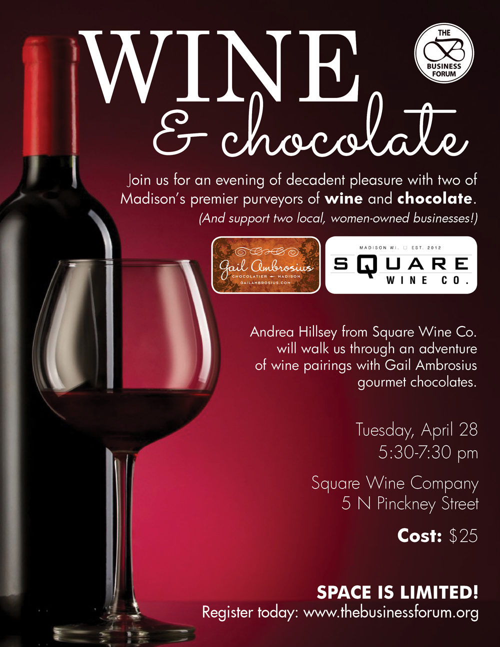 the business forum wine and chocolate tasting. Black Bedroom Furniture Sets. Home Design Ideas